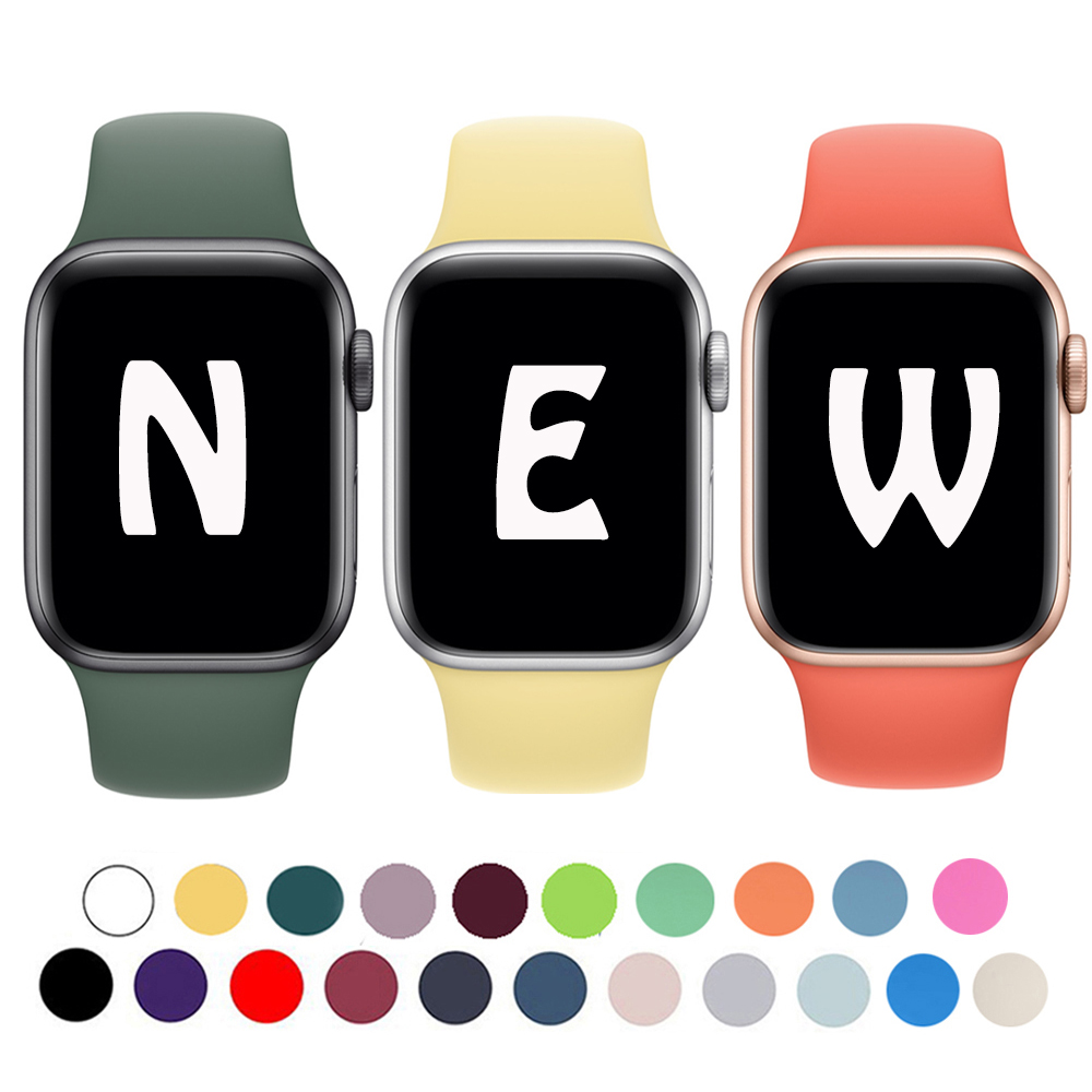 Silicone Strap For Apple Watch Band 40mm 44mm Series 4 Sport Rubber Bracelet Band For Apple Watch 38mm 42mm Series 3 2 1