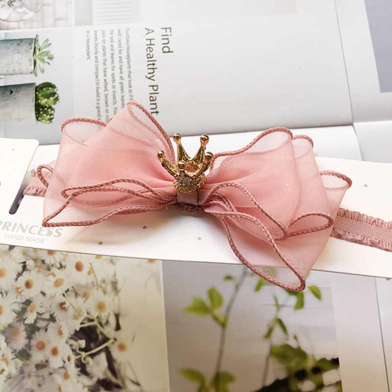 Diadema de corona con lazo para niñas, banda para el pelo de princesa elástica de encaje para niños, accesorios coloridos para el cabello de bebé con pompones