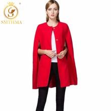 SMTHMA Высокое качество Мода дизайнерское подиумное пальто женская накидка с рукавом летучая мышь Красная рождественская накидка