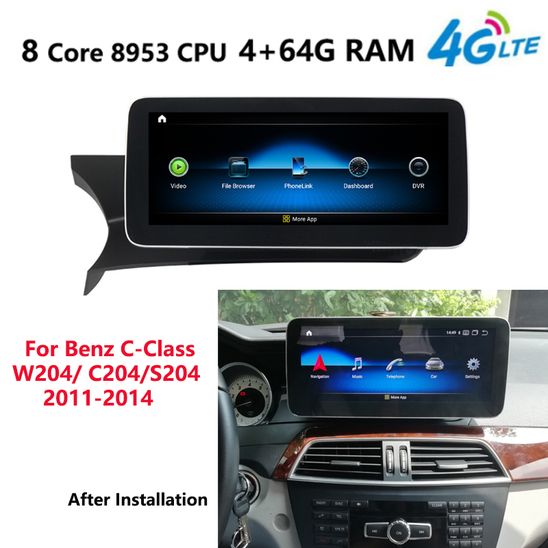 Android 9.0 8Core 4+64G Car radio multimedia Player GPS Navi or Mercedes Benz C-Class W205 S205 2014 2015 2016 2017 NTG5.0 4GLTE