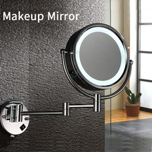 LED Makeup Mirror M002 Compact Mirror Bathroom Wall Mounted 10X Magnifying Telescopic Folding Double-sided Mirror With Light