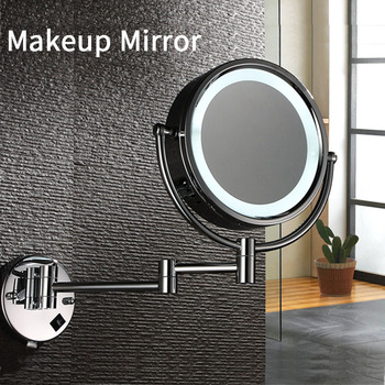 цена на LED Makeup Mirror M002 Compact Mirror Bathroom Wall Mounted 10X Magnifying Telescopic Folding Double-sided Mirror With Light