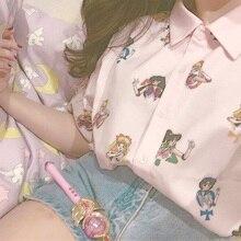 Сейлор Мун розовый короткий рукав рубашки Harajuku футболка женская одежда косплей милые кавайные Топы отложной воротник мультфильм футболка для