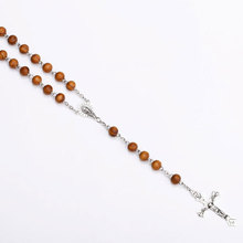 rosary necklace pearl jesus christ cross pendant necklace long chain men s and women s virgin mary christian fashion jewelry Retro Catholic Wooden Bead Rosary Necklace for Men Woman Christ Jesus Virgin Mary Cross Religion Jewelry Gift