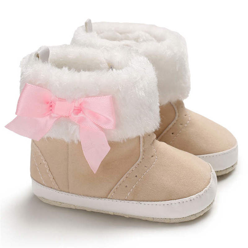 Baby Infant Shoes Girl Boy Crib Shoes Cute Bowknot Warm Soft Fluff Anti-slip Soft Sole Newborn Toddler First Walkers Shoes