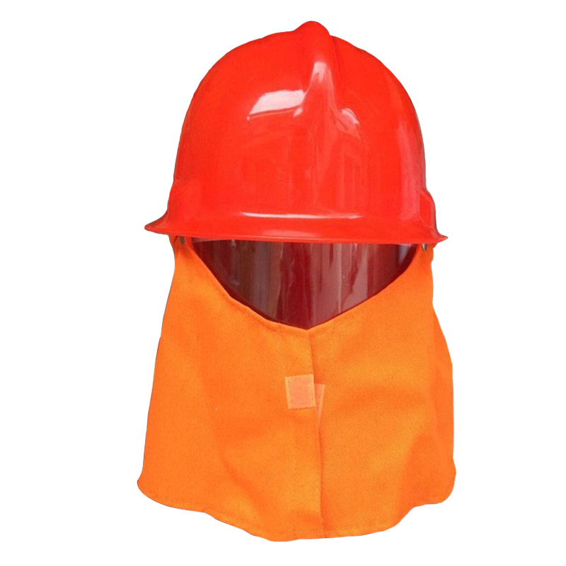 Fire Helmet With Flame Retardant Shawl Firefighter Equipment Safety Helmet Workplace Protection Hard Hat Red Color