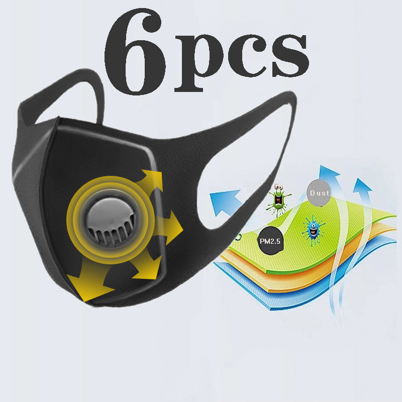 6pcs/lot Black Breathable Valve Mask Filter 3D Mouth Cover Anti-Dust Earloop Anti-dust Virus Safe PM2.5 Protective Mask