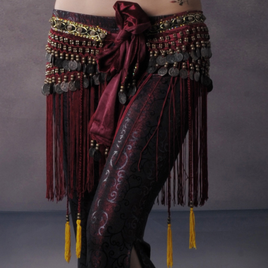 Image 3 - Women Belly Dance Belt Sexy Tassel Hip Scarf Tribal Copper Coin Dancing Costume Cloths Fringe Waist Chain BellyDance Accessories-in Belly Dancing from Novelty & Special Use