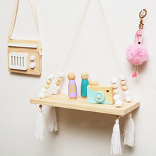 Wall Shelves Storage-Rack Wooden Home-Decoration Kid Swing Nordic Furnish Tassel-Toys