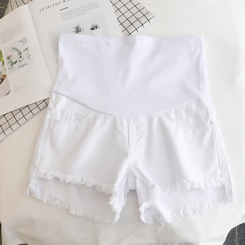 17432# Summer Thin White Denim Maternity Shorts High Waist Belly Short Jeans Clothes for Pregnant Women Pregnancy Casual Shorts 4