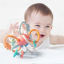 Newborns agarrar desenvolver chocalho bola segura macio dentição brinquedos mão sino bebê mordedor brinquedos educativos do bebê 0 12 meses
