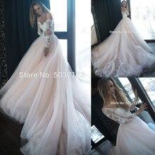 קו שמלות כלה תחרה אפליקציות Vestido דה Noiva כבוי כתף ארוך שרוולי טול כלה חתונה שמלת חלוק דה mariée