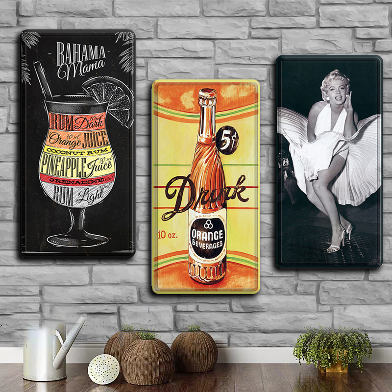 Nostalgic metal tin sign art wall Stickers Decorative Metal Boards Blue Vodka Cocktail antique Iron Door license plates decor image