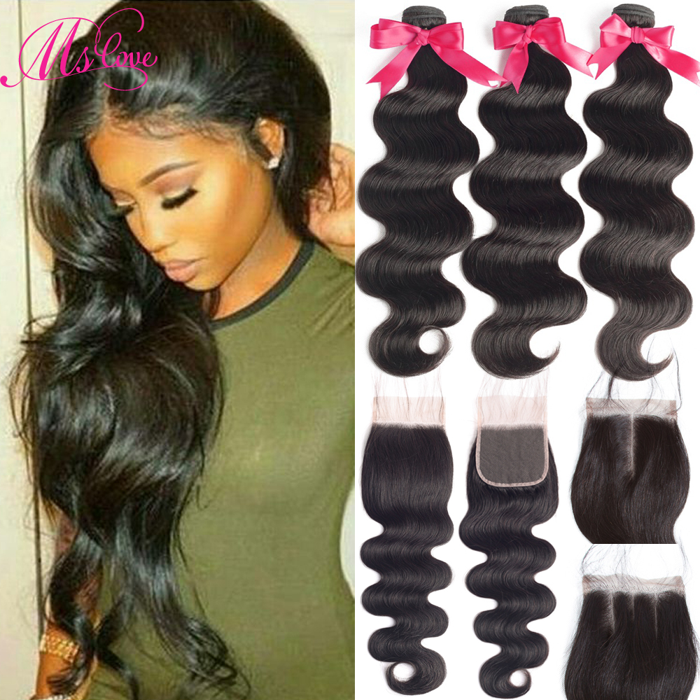 Body Wave Human Hair Bundles With Closure Brazilian Hair Weave 3 Bundles 4x4 Lace Closure With Bundles Remy Mslove