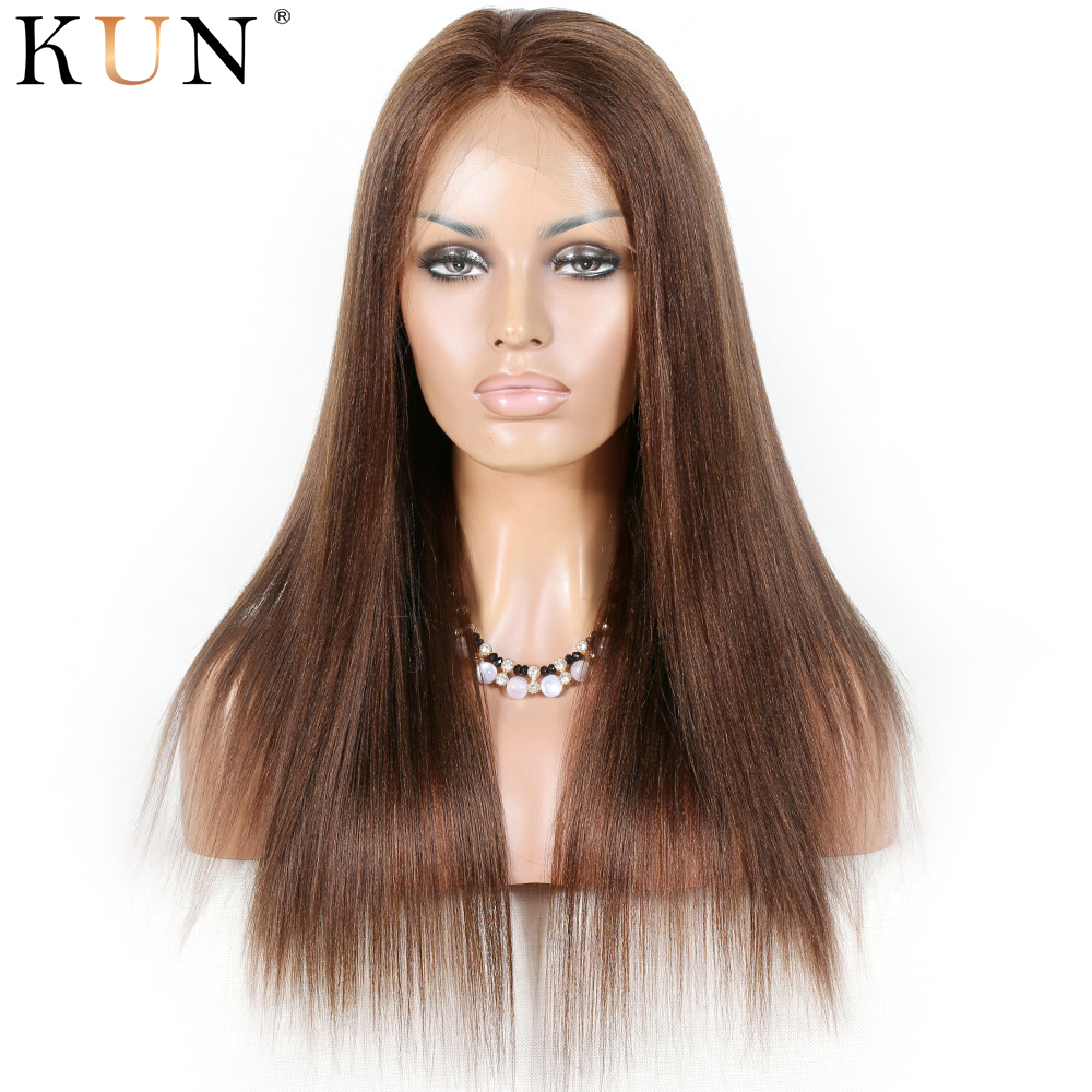 #4 Light Brown Ombre Yaki Straight Human Hair Wig 13x4 13x6 Lace Front Human Hair Wigs Pre Plucked Baby Hair 150 180 Density