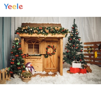 Yeele Christmas Party Backdrops for Photophone Wood House Snow Snowman Latern Newborn Baby Backgrounds Photocall For Photo Shoot image
