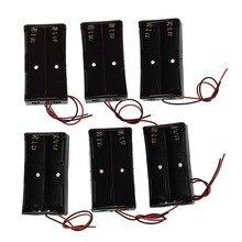 цена на 6 Pcs Black Plastic 2 x3.7V 18650 Type Battery Holder Box Case