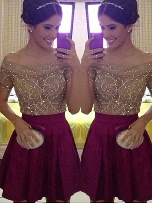 2020 Sparkle Homecoming Dress A-Line/Princess Short Sleeves Off-the-Shoulder Beading Satin Short/Mini Dresses For Party