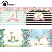 Allenjoy doğum günü fotoğraf backdrop altın geyik kelebek çiçek parti yeşil şerit fotoğraf arka plan stüdyo photocall özel