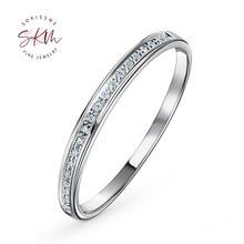 Женское кольцо из белого золота skm 14k 18k с мусанитом