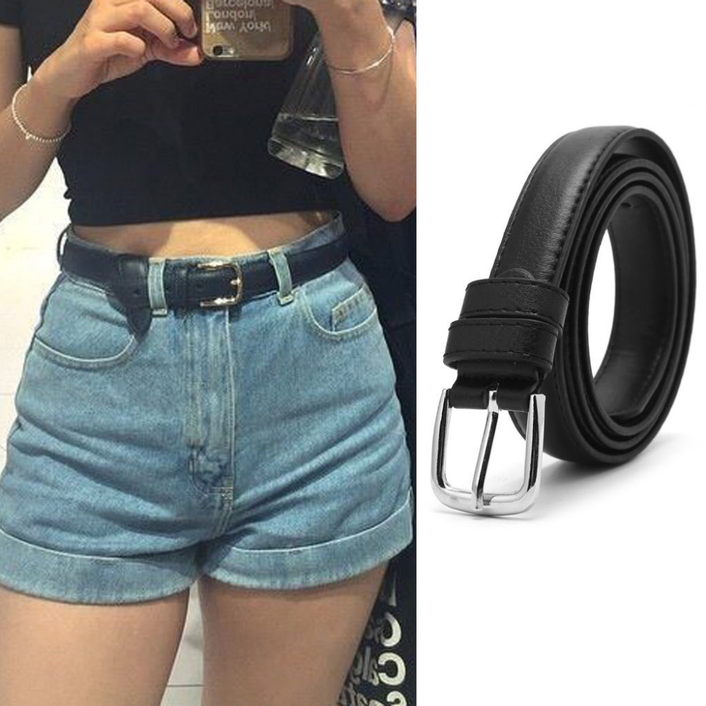 New Fashion Female Antique Black Belt Metal Buckle Jeans Woman Faux Leather Belt