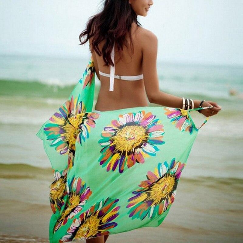 2020 Summer Bohemian Women Summer Beach Dress Green Bikini Cover-ups Swim Wear Cover Up Cotton Tunic Sexy Deep V-Neck Robe