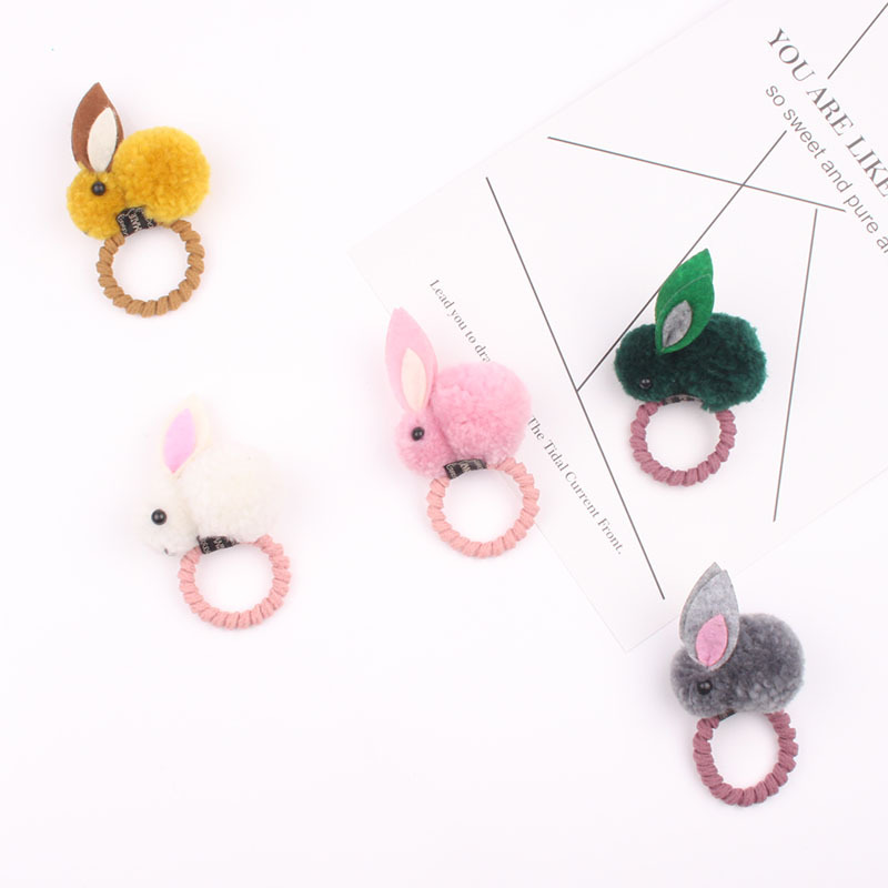 Fashion Cute Ball Rabbit Hair Ring Female Tie Rope Korean Elastic Rubber Hair Bands Bunny Hair Clip Children's Hair Accessories