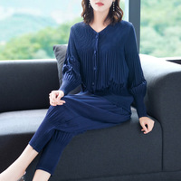 Autumn New Fashion Women Pleated Jacket Fashion Leisure Suit Two piece Trousers Suit