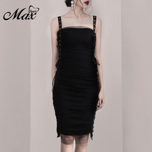Max Spri 2019 New Women Daily Rivet Straps Dress Sexy Sleeveless Knee-Length Sheath Mesh Ruched Lace Up Summer Party Black