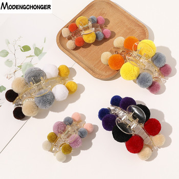 1PC Women Girls Geometric Hair Claw Clamps Crab Ball Plate Hairclip elegant Claws Candy Colors Accessories Hairpin