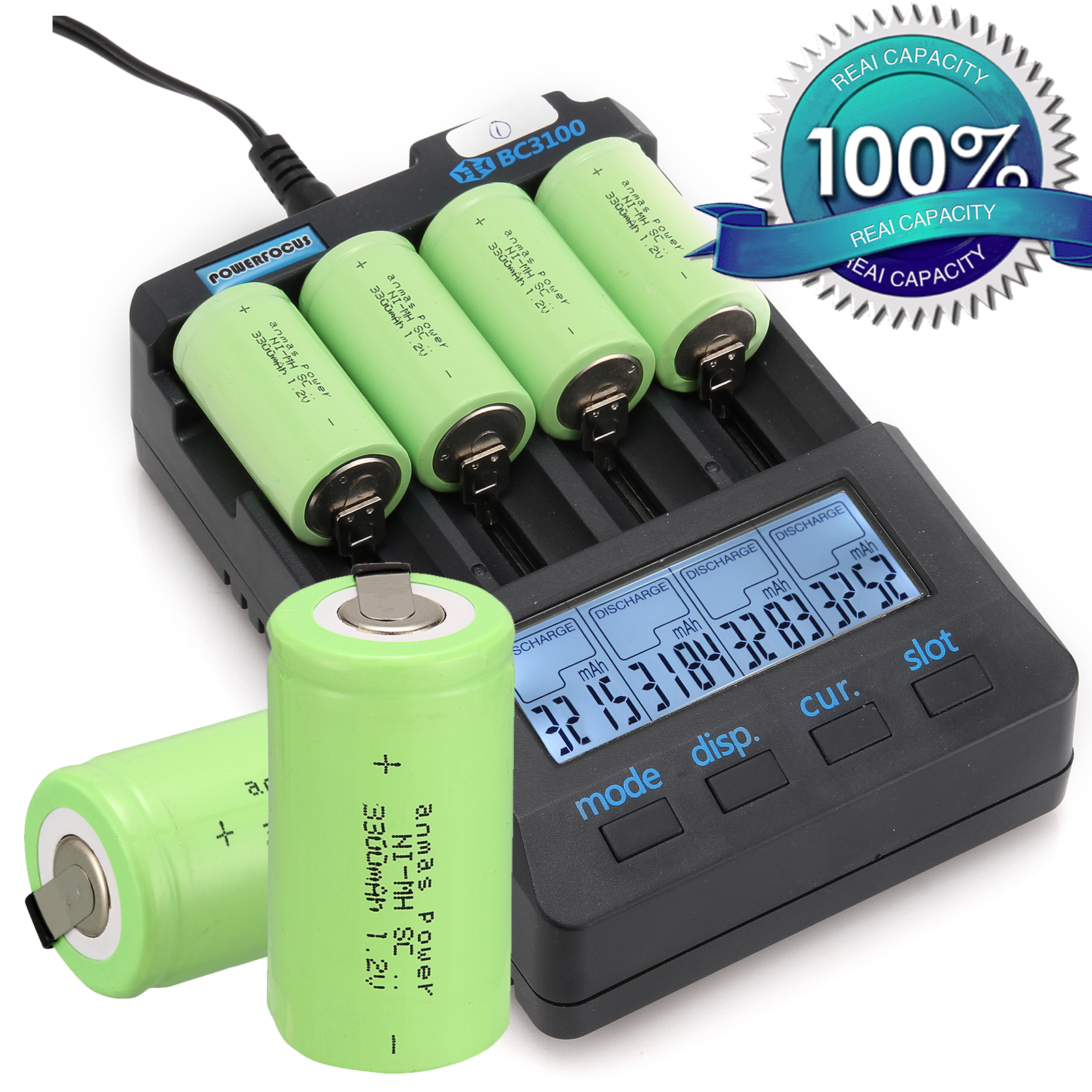 2/4/8PCS Anmas Power Sub C SC 1.2V Rechargeable Batteries 3300mAh Ni-MH NiMH 1.2 v Battery Green image