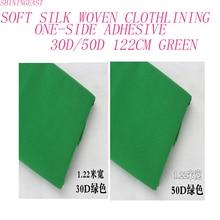 1-5 м/лот 1,22 м 30D/50D зеленая односторонняя клейкая тканая Ткань шелковая мягкая подкладка для лоскутного железа ручной работы аксессуары для diy 2175