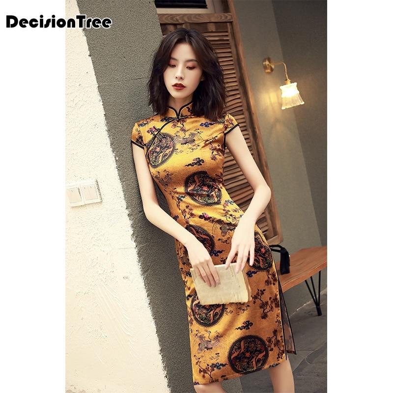 2020 Retro Style Chinese Oriental Dresses Modified Cheongsam Modern Qipao Chinese Dress Female Long Cotton Qipao Dress