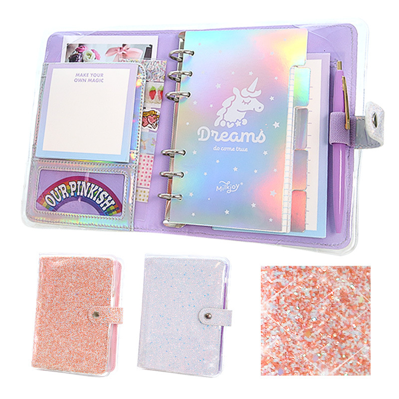 Loose leaf book Korean popular account DIY laser girl heart A6 loose leaf account in Notebooks from Office School Supplies