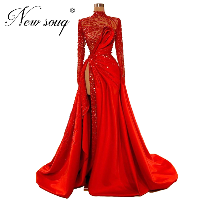Dubai Red Beaded Evening Dress Custom Made High Split Side Long Prom Dresses 2020 New Arrival Arabic Wedding Party Gown Vestidos