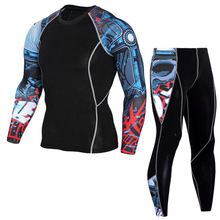 Mens Sport Running Compression Set T-Shirt + Pants-Skin Tight Long Sleeves Fitness Training Clothes Gym Clothes Yoga suits yd 2pcs yoga suits new fitness women wick workout sport gym clothes running pants compression tights t shirt tracksuits yoga set
