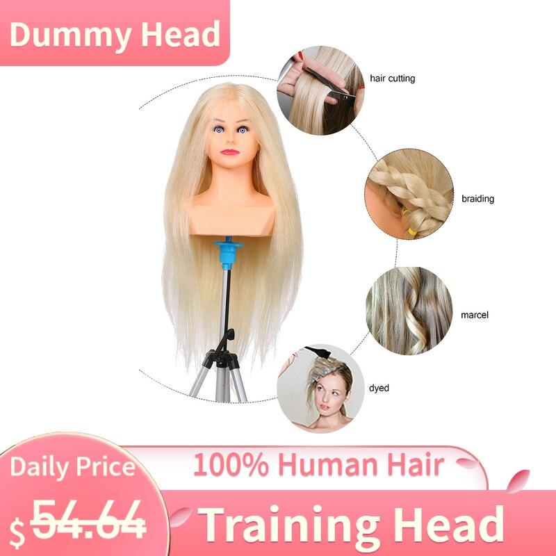 Tête de Mannequin de tête d'entraînement 100% cheveux humains pour tresser tête de Mannequin pour coiffeur tête factice de cosmétologie professionnelle