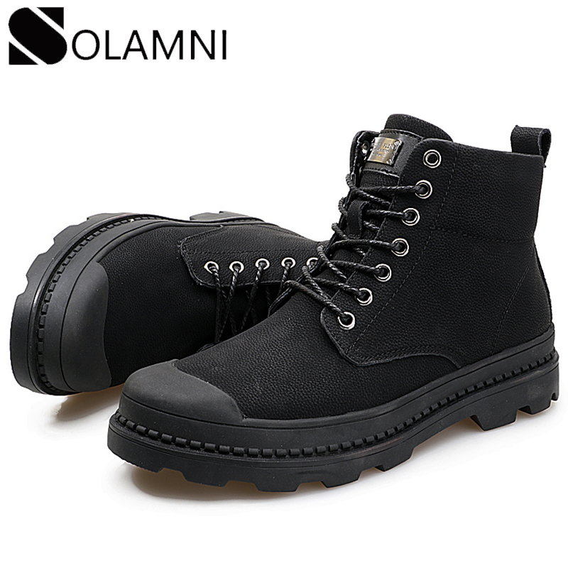Black Men Boots Winter Warm Leather Casual Ankle Boots Mens Nonslip Work Shoes Safety Male Military Plush Platform Martins Boots