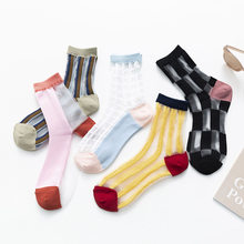 1 paar Mode Plaid Ultra Dünne Kristall Kurze Seide Socken Sommer Frauen Trendy Gestreiften Elastische Transparente Nylon Socken Mädchen Sox