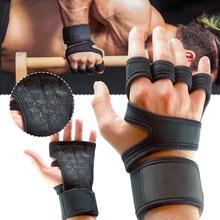 Luvas de treinamento de levantamento de peso para homens fitness sports building corpo apertos de ginástica ginásio mão palma pulso protetor luvas