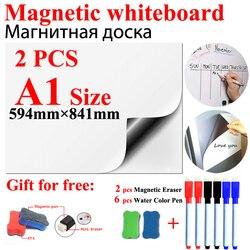 2 uds. A1 tamaño magnético pizarra imanes de nevera pegatinas de pared para niños en casa Oficina escuela pizarra blanca de borrado en seco