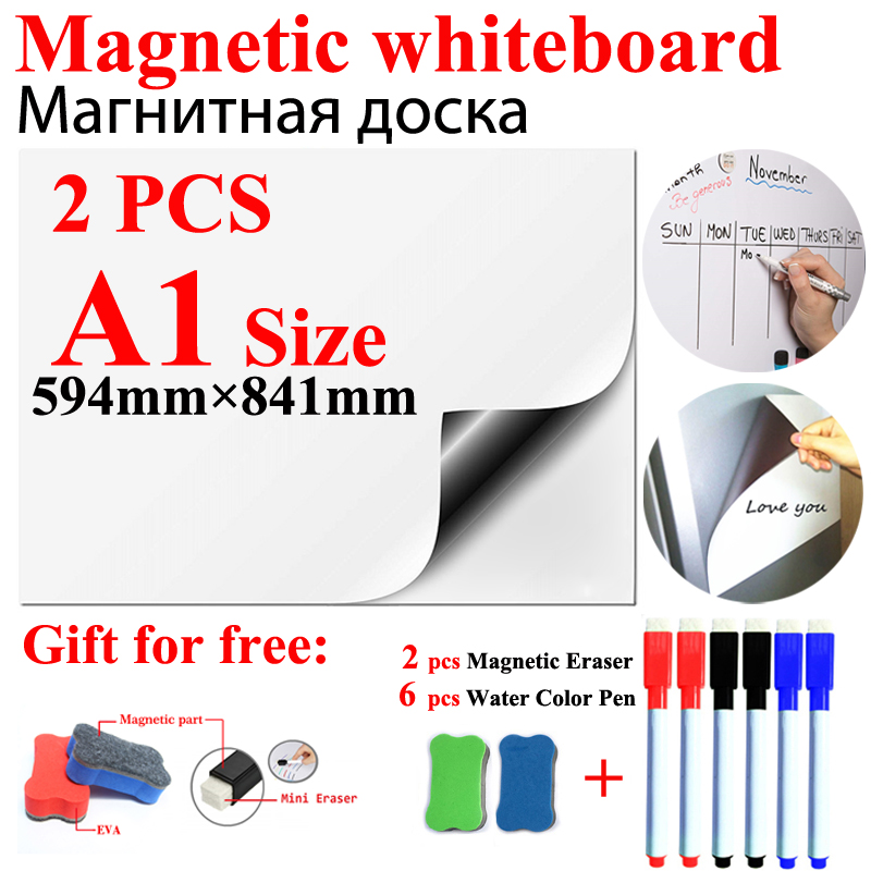 2Pcs A1 Size Magnetic WhiteBoard Fridge Magnets Wall Stickers  For Kids Home Office School Dry-erase Board White Boards