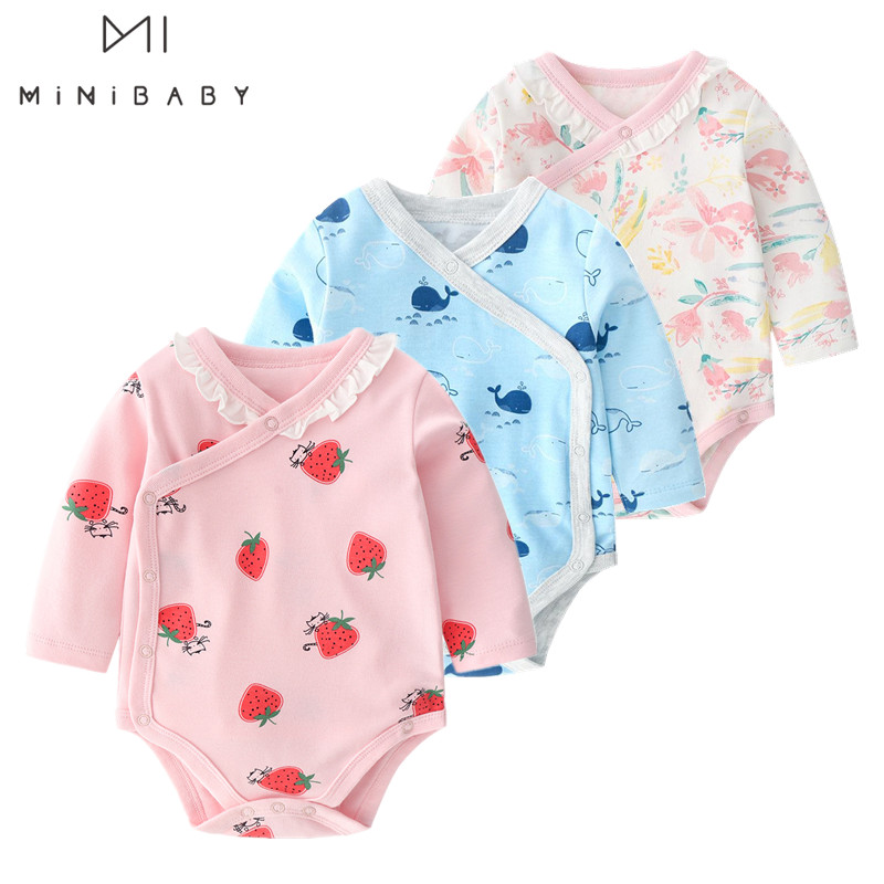 2020 Fashion Pink Baby Girl Clothes Pure Cotton Baby Bodysuit Blue Animal Baby Boy Bodysuits Long Sleeve Newborn Pamajas Body