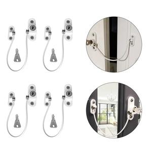 Image 2 - 4 Uds. Cerraduras de seguridad para bebés, Restrictor de ventana de acero inoxidable, cerradura de seguridad para niños, evita que los niños se caigan, bloqueo de ventana