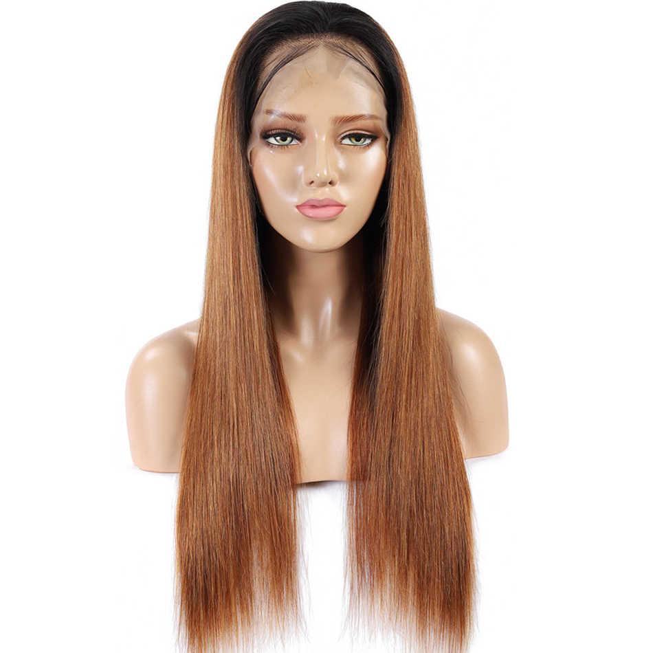 Ombre peruki z ludzkich włosów 1B/30 # kolorowe miód blondynka koronki przodu peruk wstępnie oskubane 13x4 150% brazylijski Remy ludzki włos peruki typu Lace Front