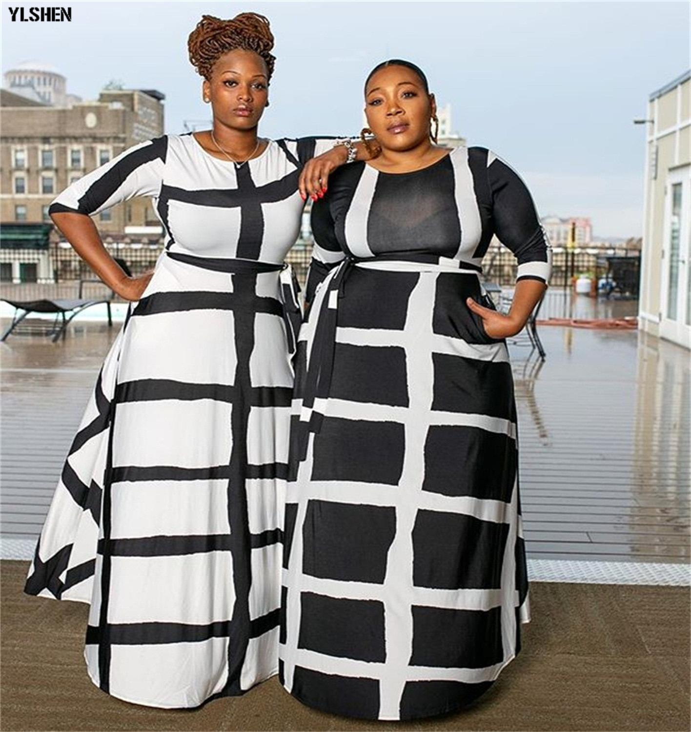 5XL African Dresses For Women Dashiki African Clothes Fashion Basin Riche Positioning Print Long Sleeve Black White Africa Dress