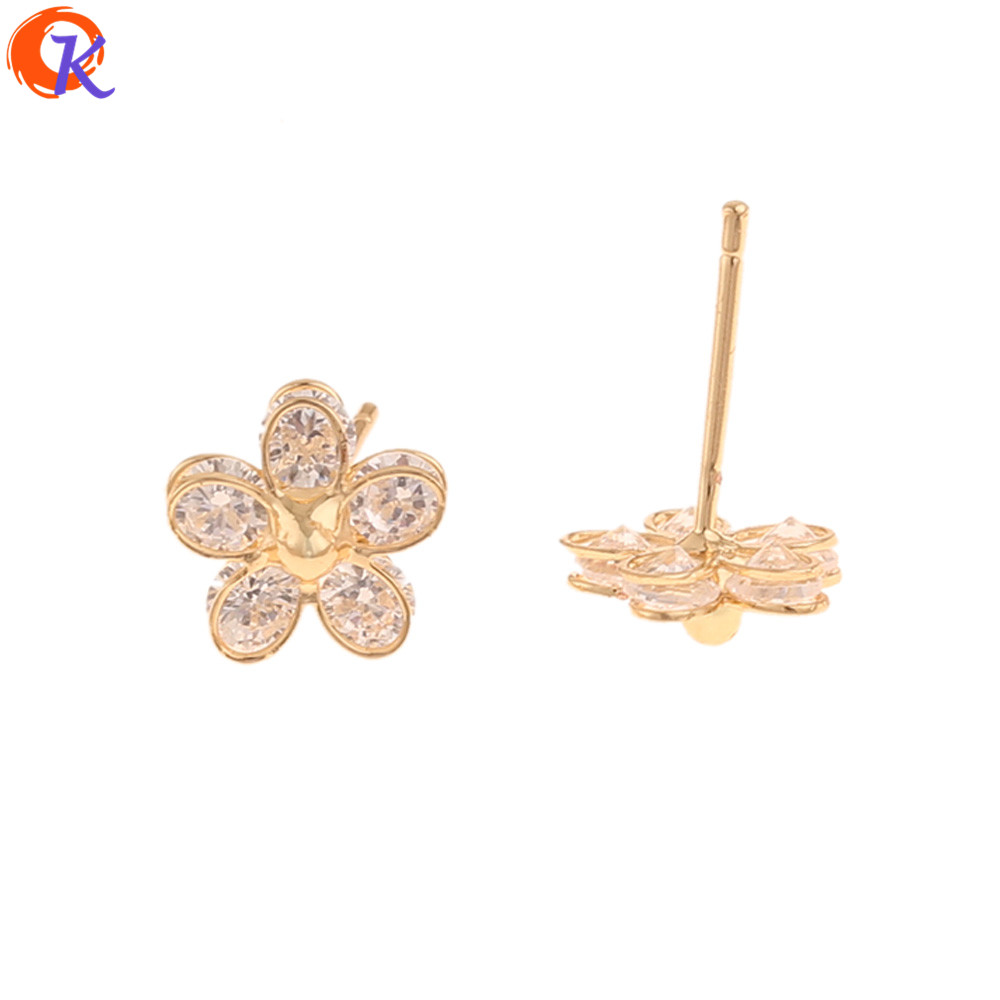 Cordial Design 20Pcs 8*9MM Fashion Jewelry/CZ Stud Earrings/Flower Shape/DIY Making/Genuine Gold Plating/Earrings For Women