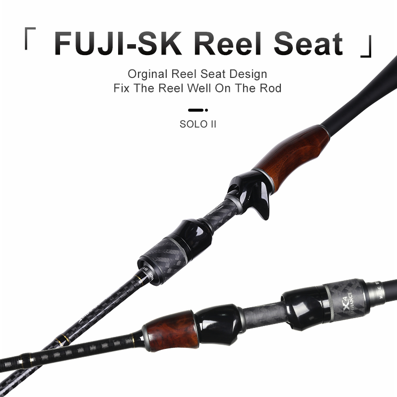 Kingdom Fishing Rod Casting Spinning Wooden Handle Lure Rod SOLO II 1.98m 2.13m FUJI Accessories Pike, Bass Fishing FAST M MH ML