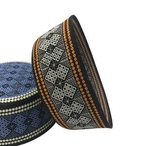Image 4 - New Prayer Hats Cotton Embroidery Islamism Muslim hat Islam Arabic India Jewish Hat Saudi Arabia Hats for men Headscarf Clothing