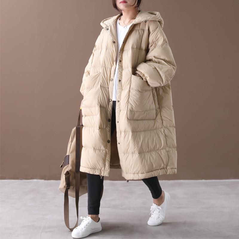 Loose Down Coat Long Parka Women 2019 New Korean Large Size Cloak Lantern Sleeves Hooded White Duck Down Jacket Female NS1645